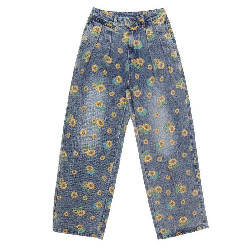 Wide Sunflowers Jeans