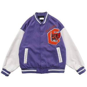 Fox Embroidered Double-Sided Baseball Jacket