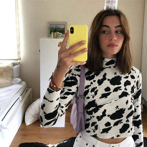 Cow Print Turtle Neck Crop Top