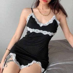 Black Lace Cami Mini Dress