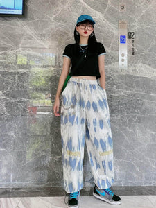 Tie Dye Embroidered Wide Pants