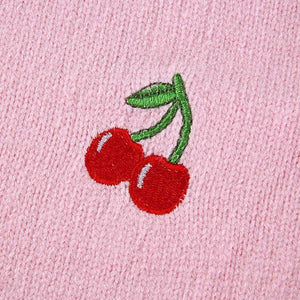 V Neck Cherry Knitted Cropped Cardigan