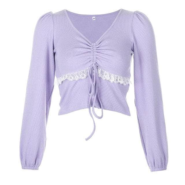 Lace Ruched Long Sleeve Crop Top