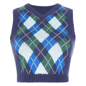 Argyle Plaid Knitted Crop Top