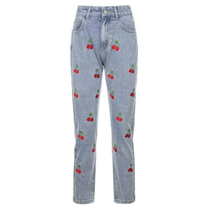 Cherry Embroidery Jeans