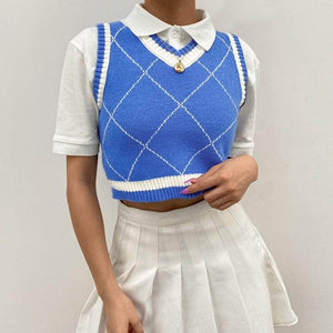 Argyle Knitted Sleeveless Crop Top