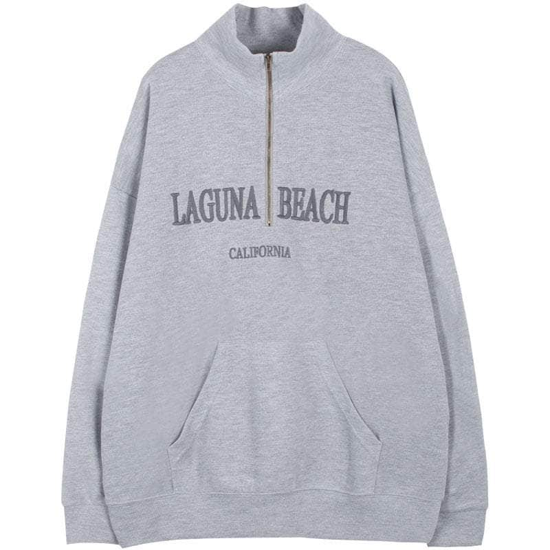 Embroidery Vintage Zipper LBC Sweatshirt