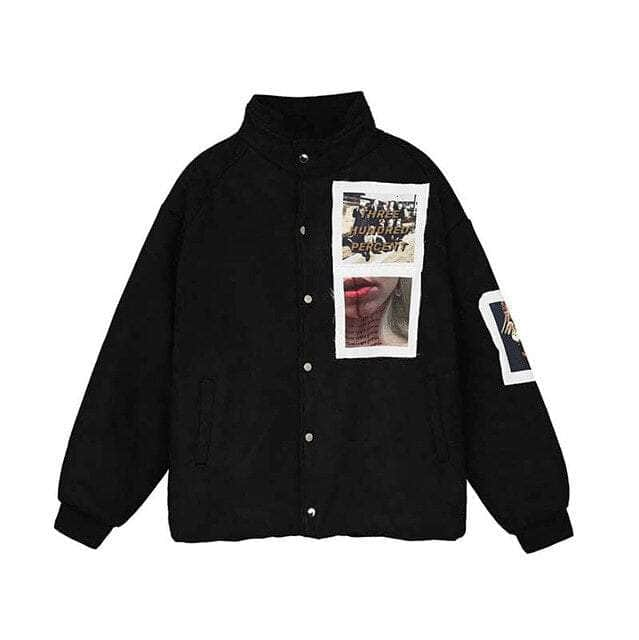 Thick Patched Bomber Jacket