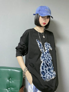 Rabbit Plush Leopard Long Sleeve Tee