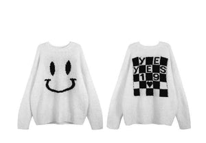 Smiley Double-Sided Loose Sweater