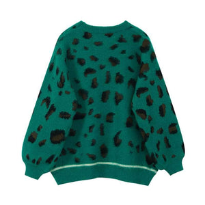 Vintage Knitted Green Leopard Sweater