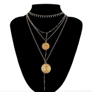 Multilayer Carved Coin Necklace