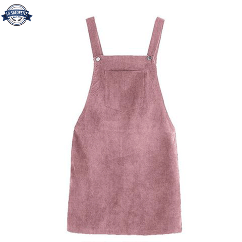 Robe Salopette Velour Rose