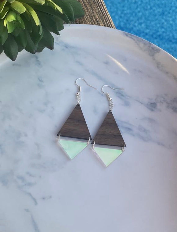 Walnut and Radiant Iridescent Acrylic Earrings