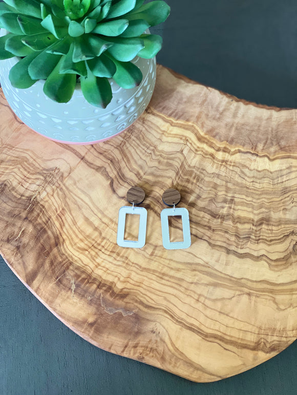 Walnut and silver Earrings