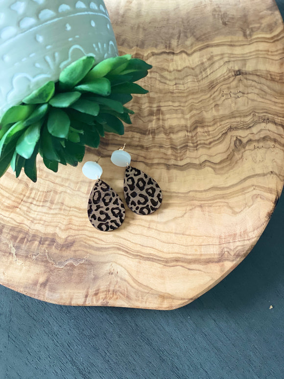 Walnut Leopard Earrings
