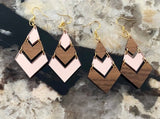Walnut and Rose Gold Chevron Earrings