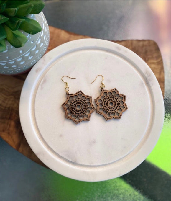 Mandala Walnut Earrings