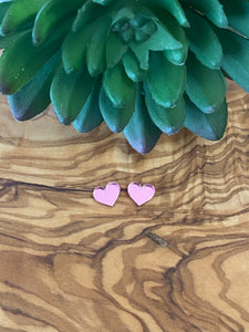 Pink Mirrored heart studs