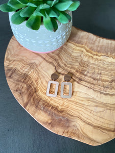 Walnut and Rose Gold Earrings