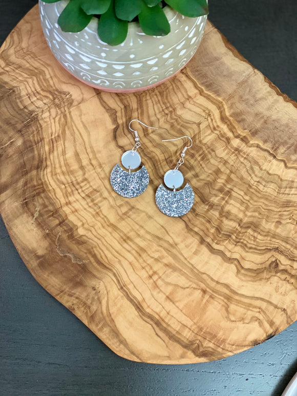 Silver mirrored & Sparkle Acrylic Earrings.