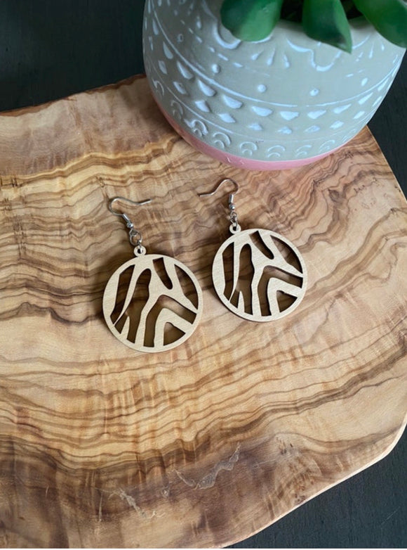 Round Zebra Earrings