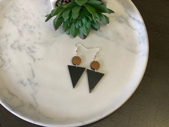 Walnut & Black Acrylic Earrings