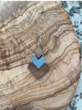 Silver Mirrored Acrylic and Walnut Chevron Earrings