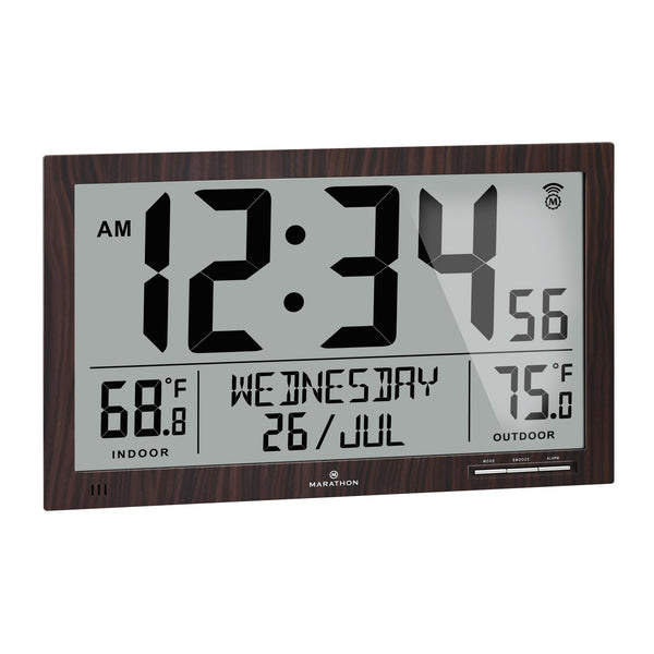 Slim Atomic Full Calendar Clock with Extra Large Digits and Indoor/Outdoor Temperature - marathonwatch