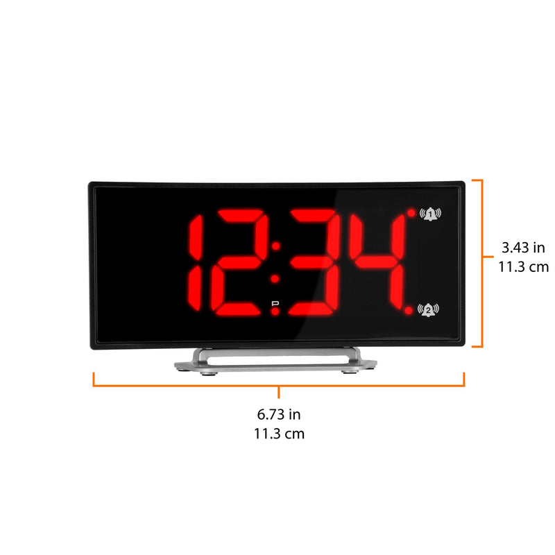 Curved Display LED Clock with Dual Alarm and USB Charging Port
