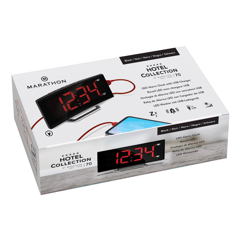 Curved Display LED Clock with Dual Alarm and USB Charging Port - marathonwatch