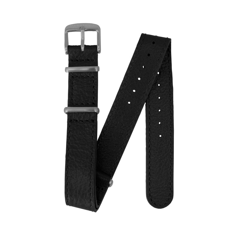 16mm Leather Defence Standard Watch Strap - Stainless Steel Hardware