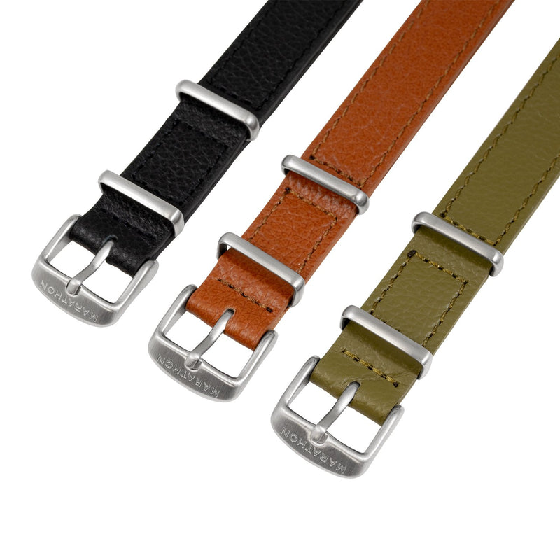 16mm Leather NATO Watch Band/Strap with Stainless Steel Square Buckle - marathonwatch