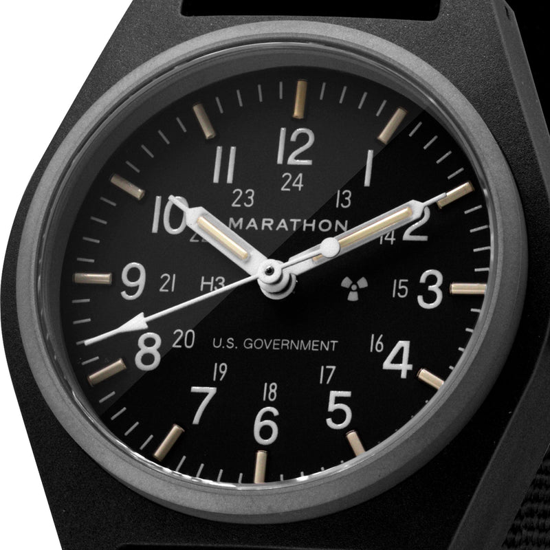 Black General Purpose Mechanical (GPM) US Government Markings - 34mm - marathonwatch