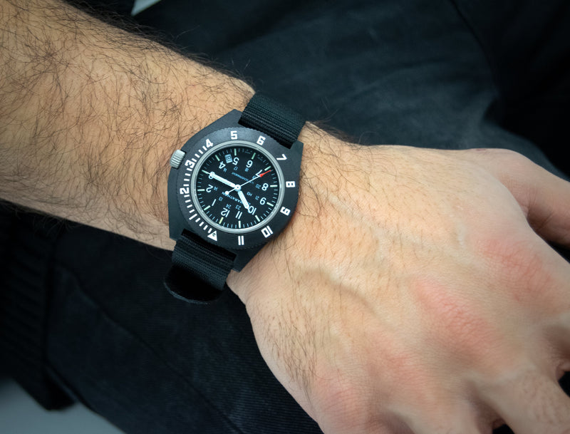 Black Pilot's Navigator with Date - US Government Markings - 41mm - marathonwatch