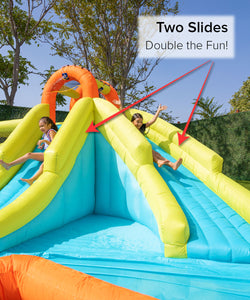 Inflatable Double Slide with Bounce House Backyard Jumper