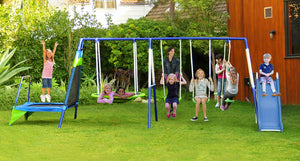 Mountain View Metal Swing, Slide and Trampoline Set