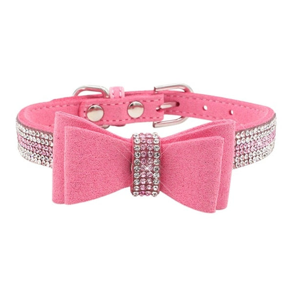 diamond bowtie dog collar