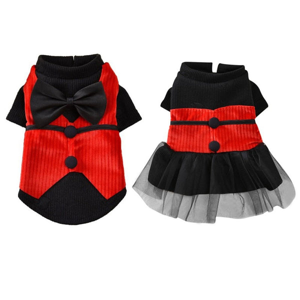 black and red matching formal attire for dogs