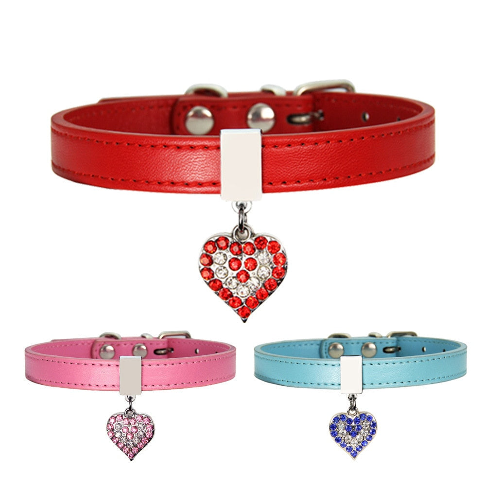 rhinestone heart leather dog collar