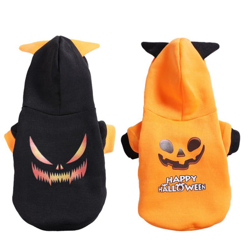 scary jack-o-lantern dog halloween hoodie sweatshirt