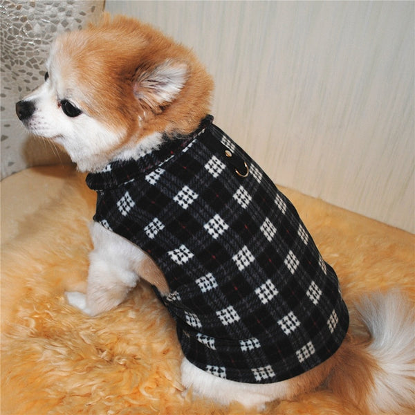 plaid fleece dog vest