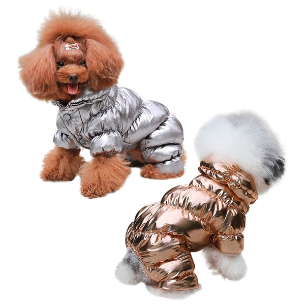 metallic fleece-lined dog winter jumper coat