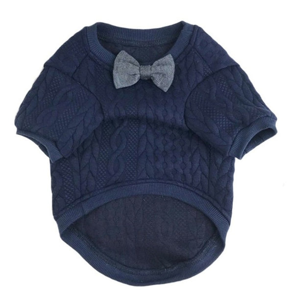 bowtie knitted dog sweater