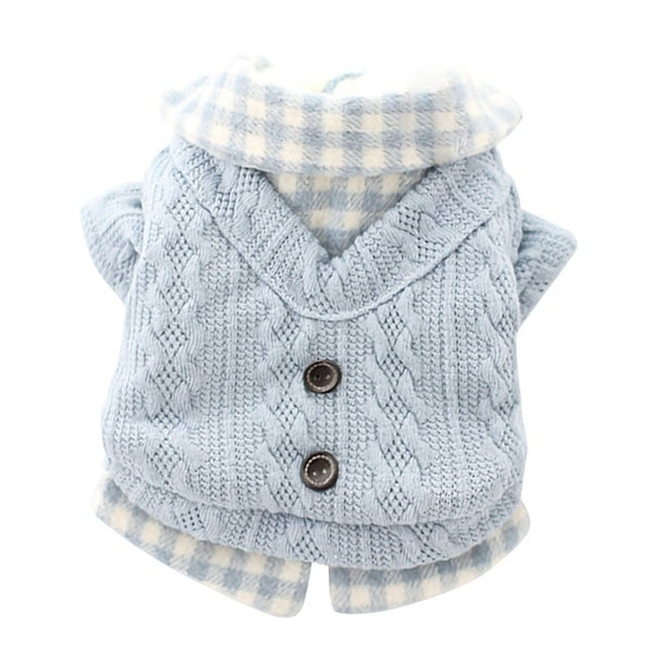 plaid dress shirt with knitted dog sweater