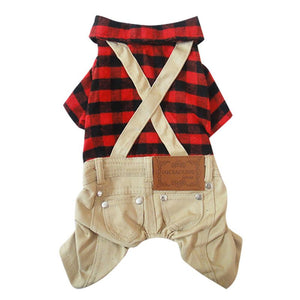 red plaid suspender dog jumpsuit