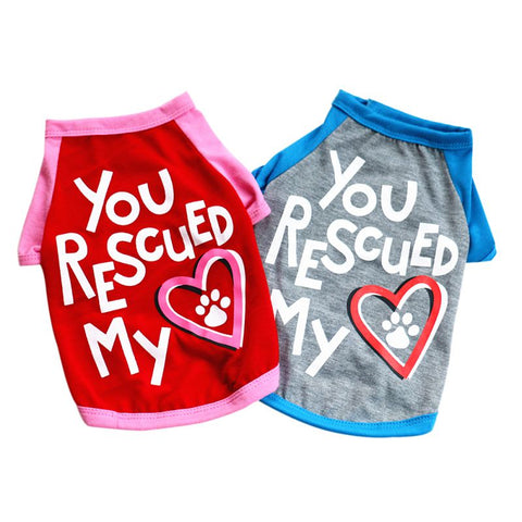 you rescued my heart dog t-shirt