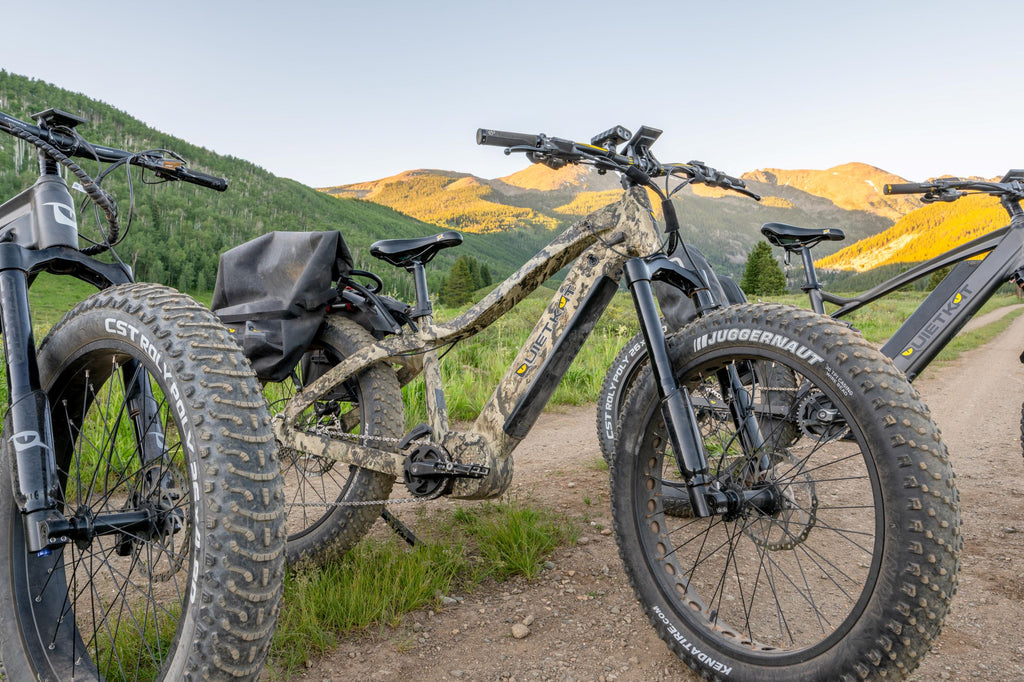 Closeup of the fat tires that can found on a QuietKat electric hunting bike