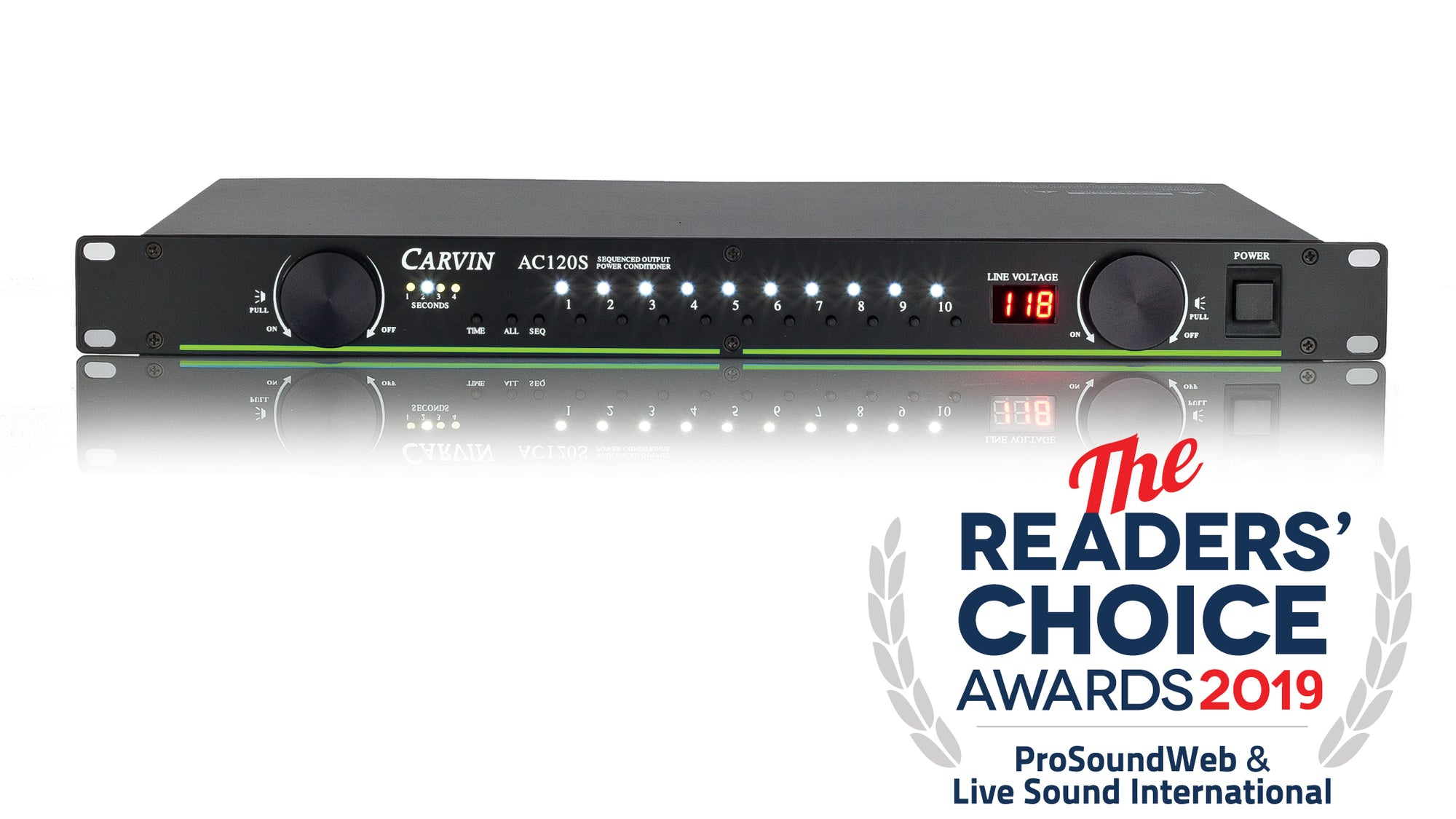 carvin ac120s power conditioner wins the 2019 reader's choice award from prosoundweb and live sound international