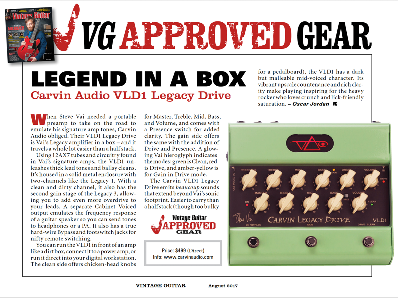 Vintage Guitar Reviews The Vld1 Legacy Drive Pedal Carvin Schematics